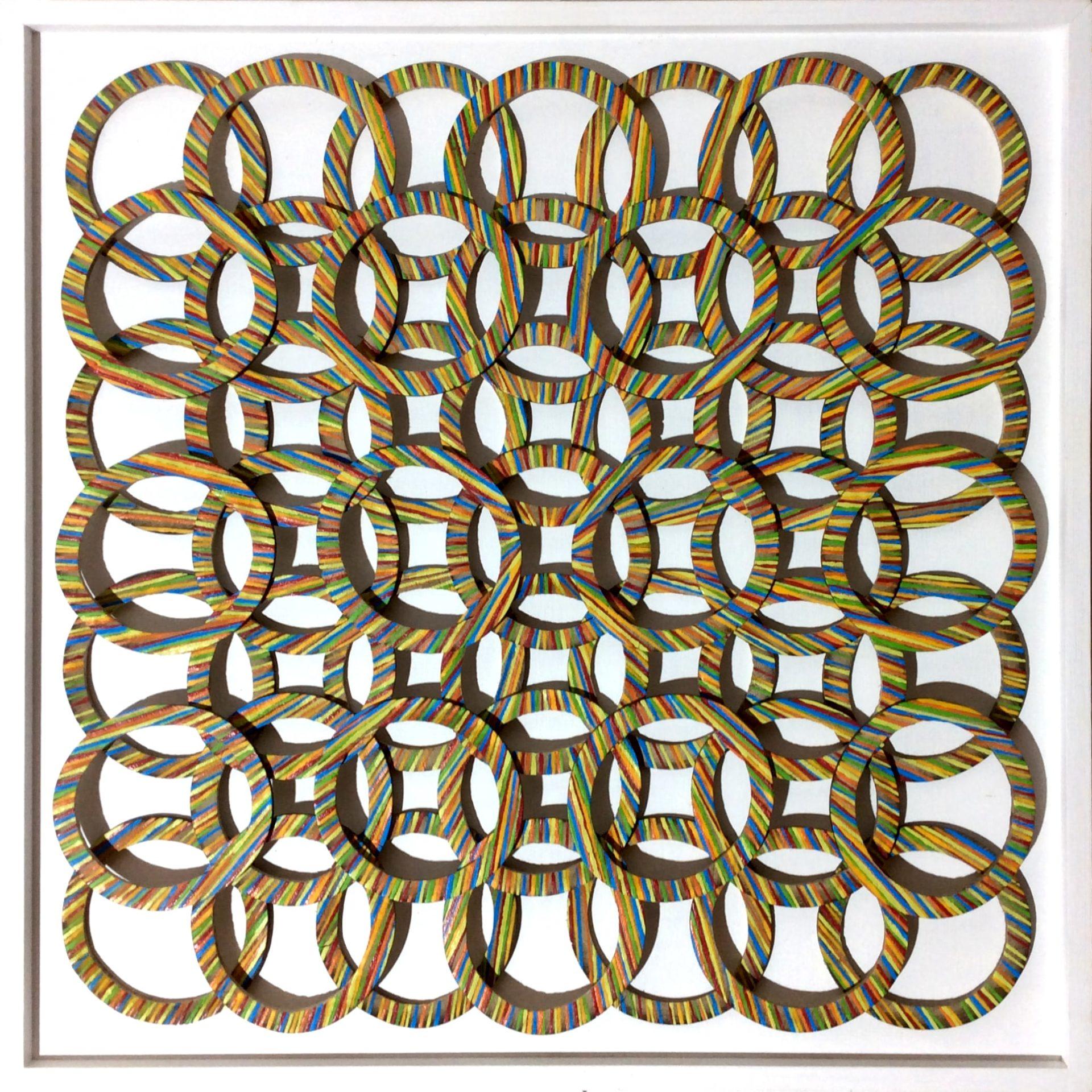Bild 0,55 x 0,55m – Bambusringe (2019) verk.